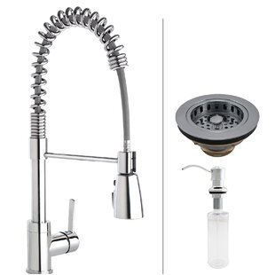 Keeney Manufacturing Company Essentials Commercial Style Pull Down Single Handle Kitchen Faucet with Strainer and Soap Dispenser
