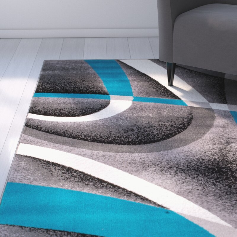 Zipcode Design Rick Wool Turquoise Gray Area Rug Reviews Wayfair