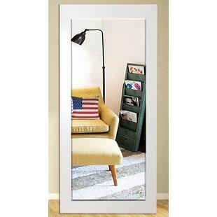 Orren Ellis Bertie Glossy White Beveled Wall Mirror