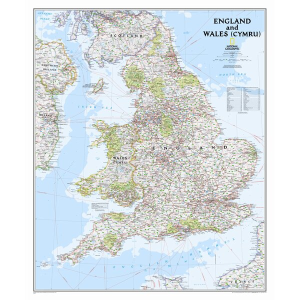 National Geographic Maps England and Wales Classic Wall Map,36\