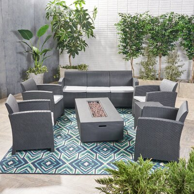 Agape 7 Piece Rattan Sofa Seating Group with Cushions Frame Finish: Charcoal/Dark Gray, Cushion Color: Light Gray by Brayden Studio