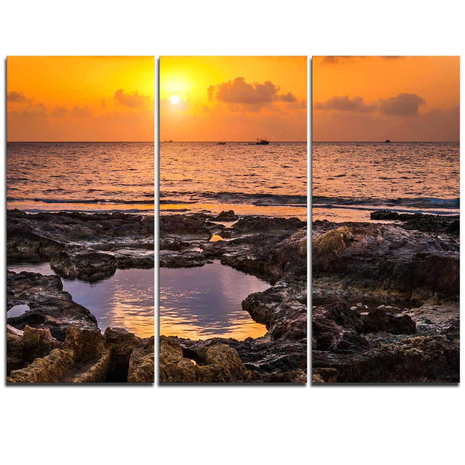 Designart Colorful Rocky Coast At Sunset 3 Piece Graphic Art On Wrapped Canvas Set Wayfair