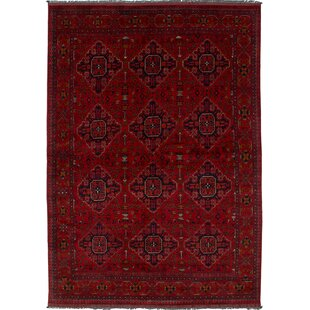 Clearance One-of-a-Kind Aarav Finest Khal Hand-Knotted Wool Red/Black Area Rug By Isabelline