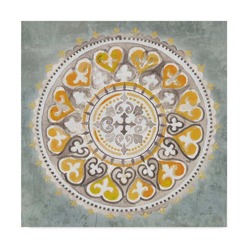 Fleur De Lis Living Mandala Delight Iii Yellow Grey Watercolor Painting Print On Wrapped Canvas Wayfair