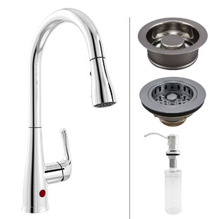 Keeney Manufacturing Company Essentials Single Handle Touchless Kitchen Faucet with Strainer and Soap Dispenser