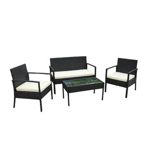 Find for Linosa 4 Piece Rattan Sofa Set with Cushions Great price