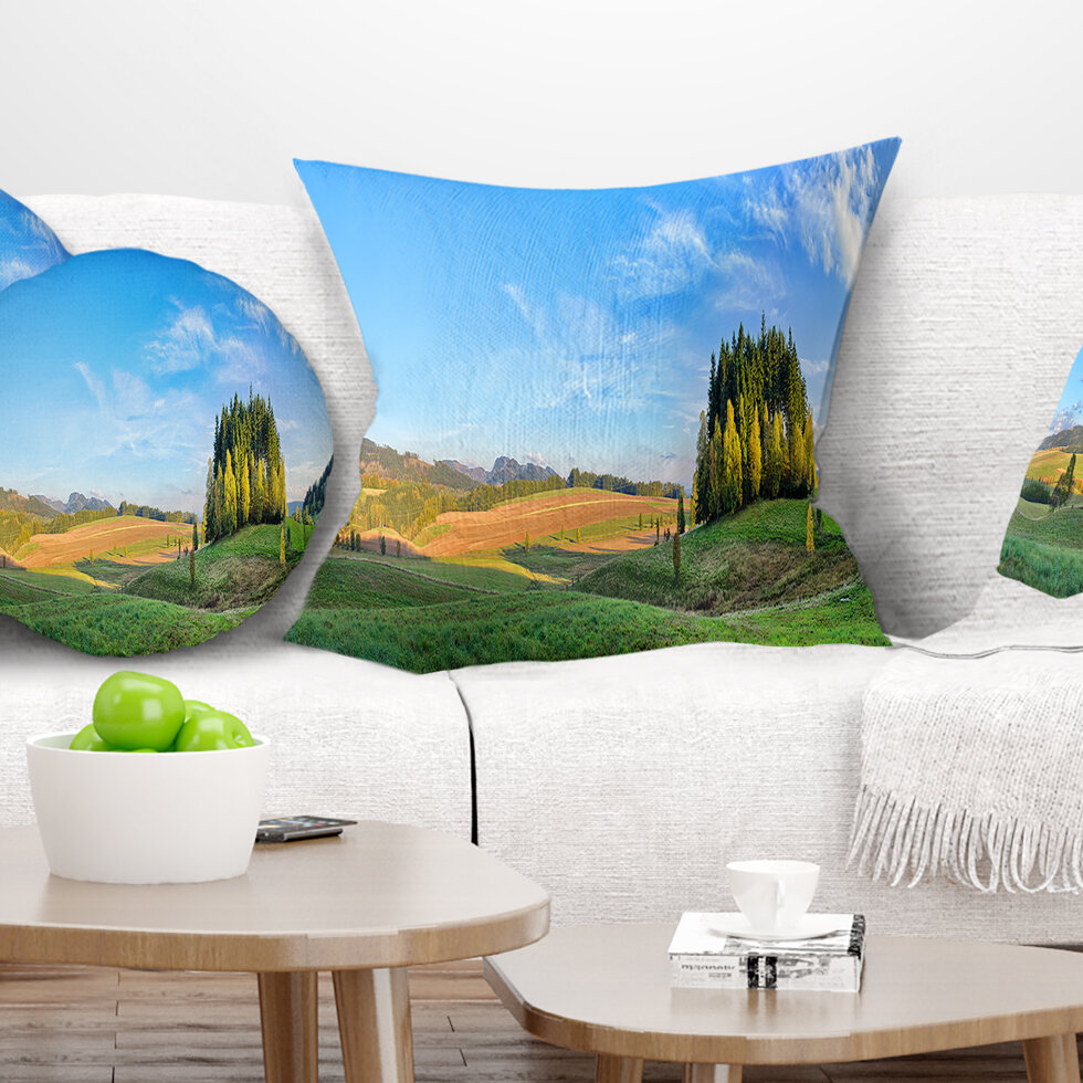 East Urban Home Landscape Printed Long Panorama With Little Forest Pillow Wayfair