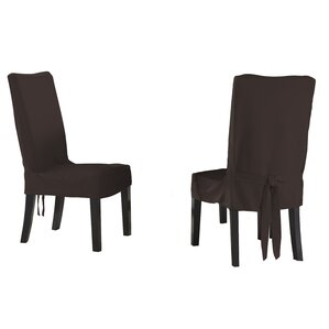 Relaxed Smooth Furniture Dining Chair Slipcover with Adjustable Ties (Set ..
