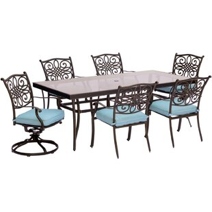 Three Posts Lauritsen 7 Piece Dining Set with Cushions