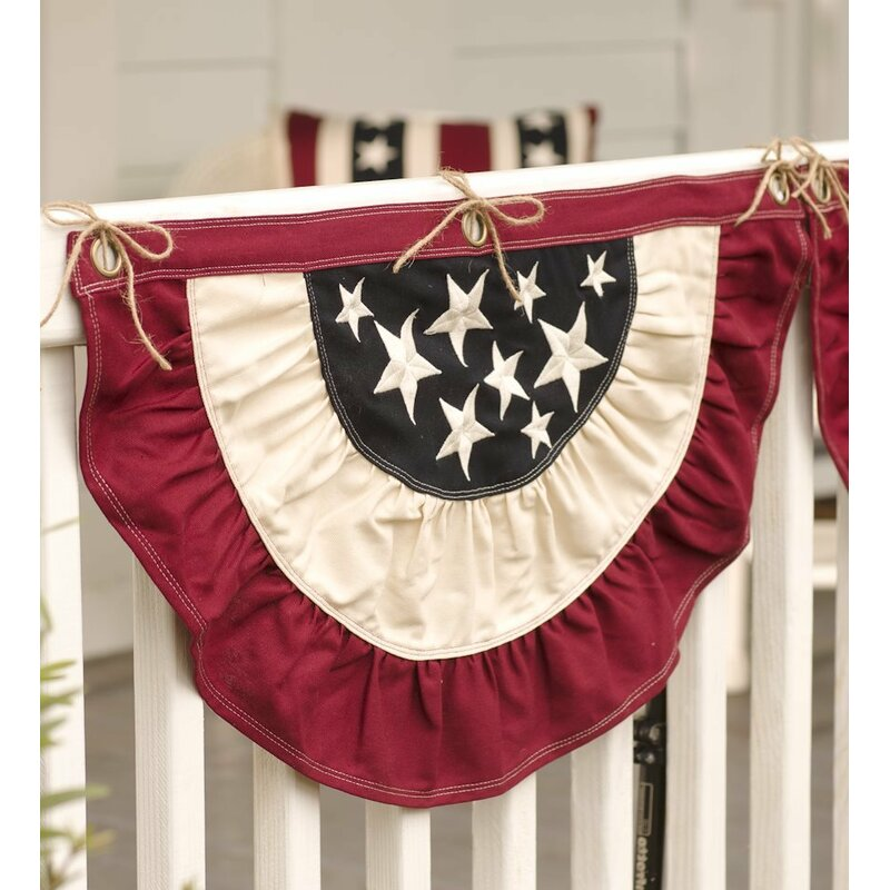 Patriotic Red White Blue Printed Poly Cotton Bunting With Stars 18 X 60 Yards Historical Memorabilia Collectible Us Country Flags