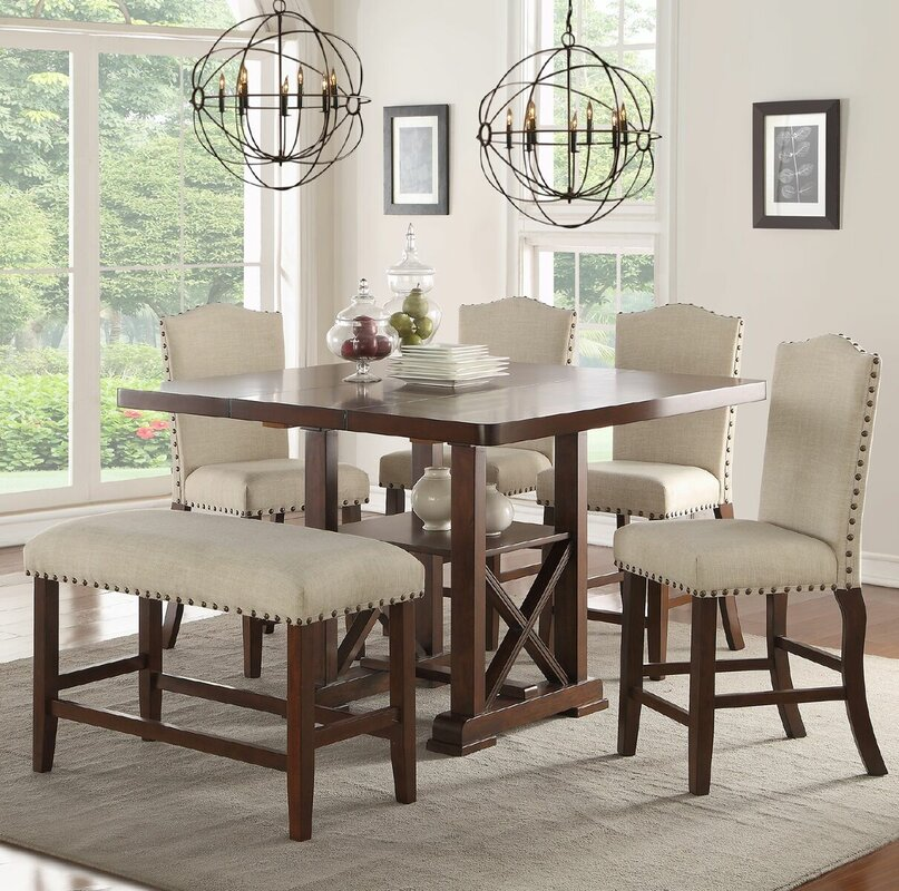 Delightful Chevaliers 6 Piece Counter Height Dining Set