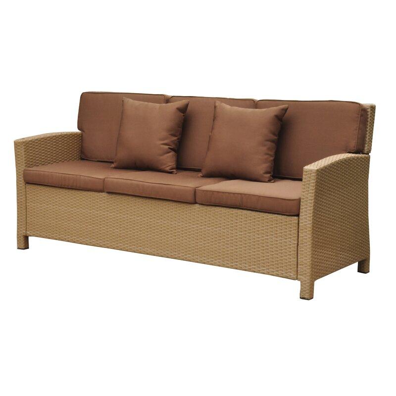 Merveilleux Binney Wicker Resin Sofa With Cushions