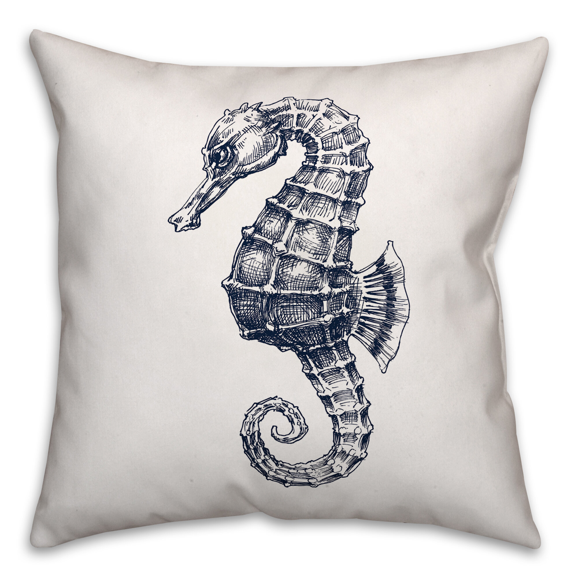 Breakwater Bay Comeaux Sketched Seahorse 18 Throw Pillow Wayfair