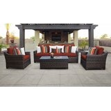 River Brook 6 Piece Outdoor Rattan Sofa Seating Group with Cushions