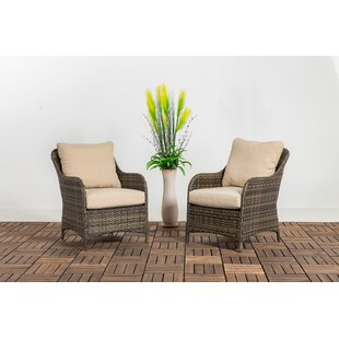 Deleon Patio Chair with Cushions (Set of 2)