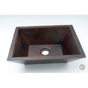 Ambiente Double Wall Hammered Copper Metal Rectangular Vessel Bathroom Sink