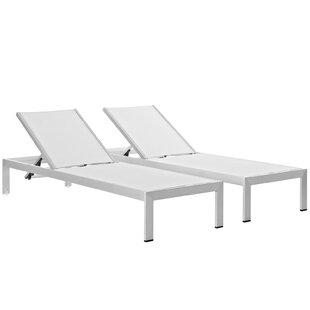 Orren Ellis Coline Outdoor Patio Aluminum Single Chaise (Set of 2)