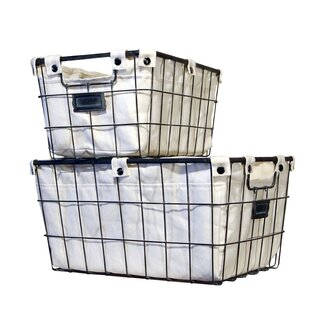 August Grove 2 Piece Cage Laundry Basket Set