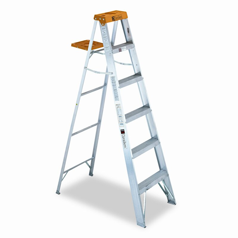 6 Ft Aluminum Louisville Folding Step Ladder With 225 Lb Load Capacity