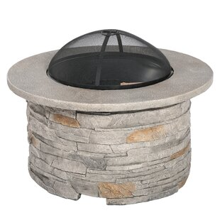 Braselton Faux Stone Wood Burning Fire Pit Table