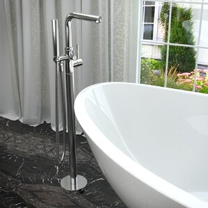 clawfoot tub faucet floor mount. Sens Double Handle Floor Mounted Claw Foot Tub Faucet with Hand Shower Clawfoot Bathtub Faucets You ll Love  Wayfair