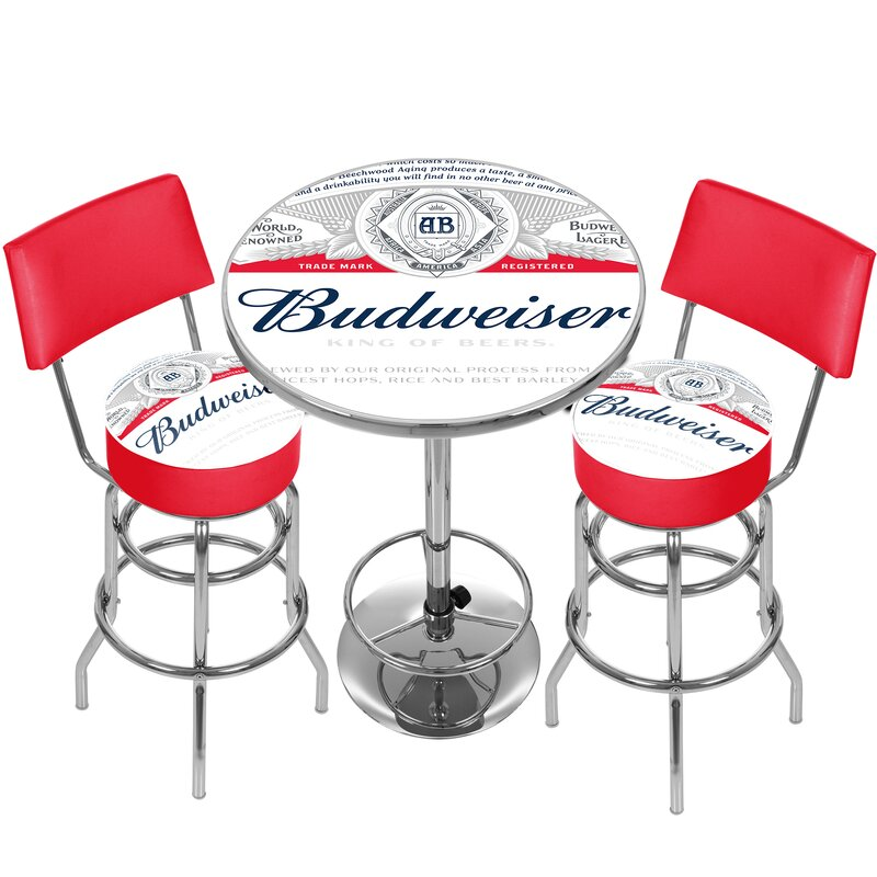 Trademark global budweiser label game room combo 3 piece pub table budweiser label game room combo 3 piece pub table set watchthetrailerfo
