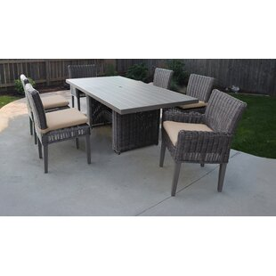 Mejia 7 Piece Outdoor Patio Dining Set with Cushion by Rosecliff Heights