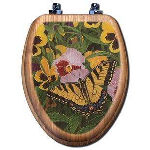 TGC Artisans Seats Butterflies and Pansies Elongated Toilet Seat