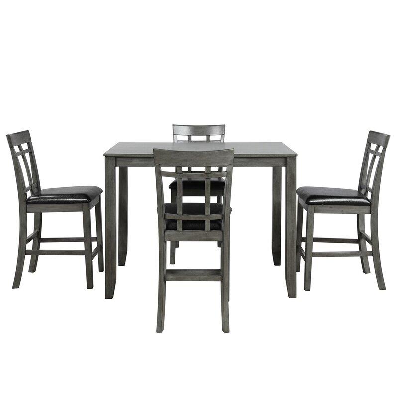 White Cane Outdoor Furniture, Red Barrel Studio Ghada 5 Piece Counter Height Dining Set Wayfair