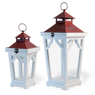 Highland Dunes Streetlamp 2 Piece Wood Lantern Set
