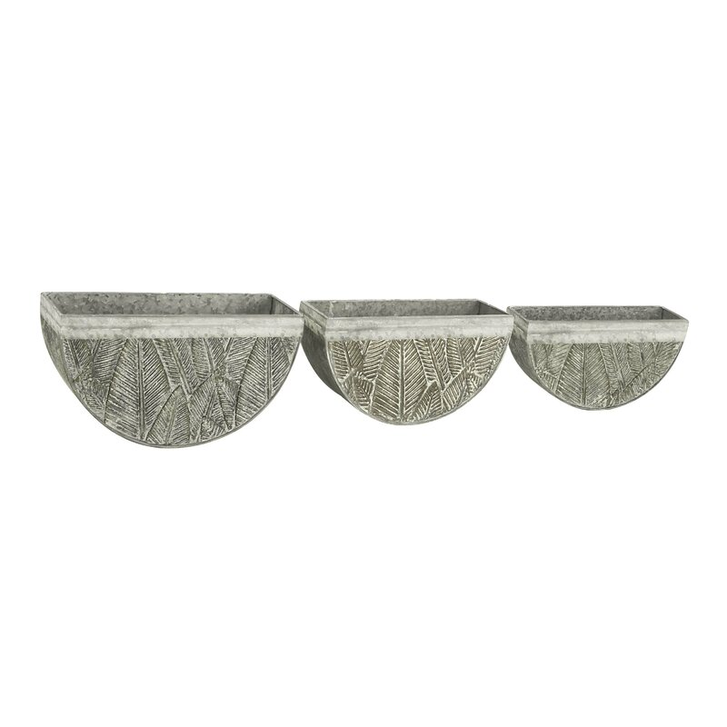 Cole Grey Rustic Semi Circle Leaf 3 Piece Wall Planter Set