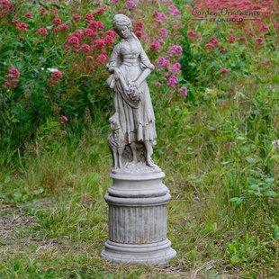 2 Piece Shepherdess On Column Stone Garden Statue Set (Set Of 2)