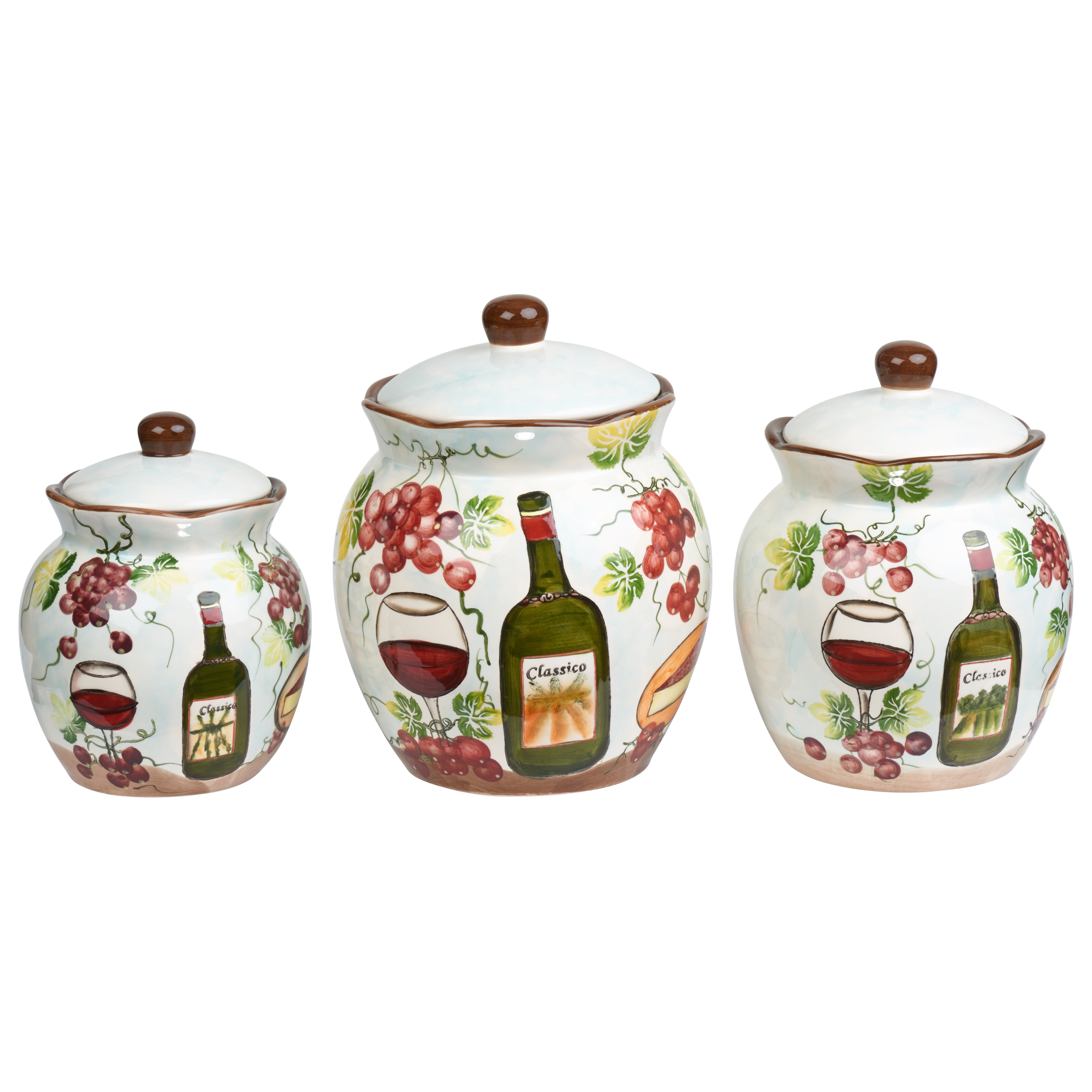 Lorren Home Trends Grape Ceramic Deluxe 3 Piece Kitchen Canister Set ...