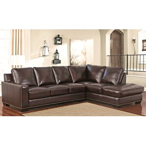 Mccaffrey Leather Sectional by Three Posts
