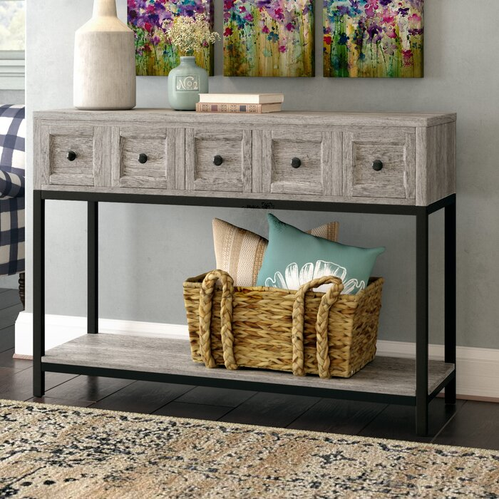 Modern Farmhouse Console Table for Mail and Keys