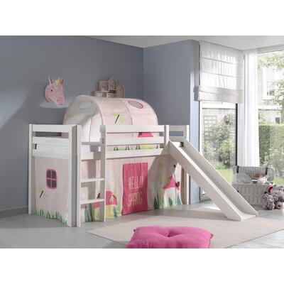 Halbhochbett Escalera Spring mit Rutsche und Textil-Set  90 x 200 cm   Kinderzimmer > Kinderbetten > Hochbetten   Muster   Massiver - Kiefer - Baumwolle   Roomie Kidz