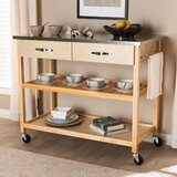 Doucette Wood 2-Drawer Utility Storage Kitchen Island Stainless Steel by Highland Dunes