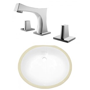 American Imaginations CSA Ceramic Oval Undermount Bathroom Sink with Faucet and Overflow