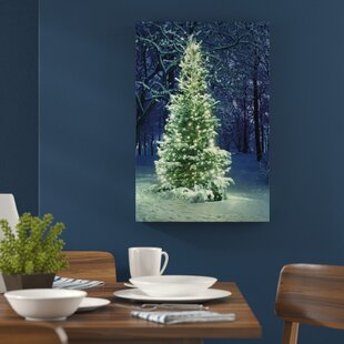 bright christmas tree photographic print on canvas