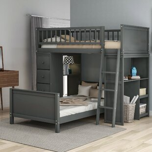 Claughaun Twin over Twin LShaped Bunk Bed with 4 Drawers and 5 Shelves