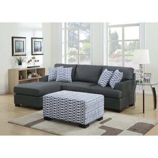 Bobkona Roman Reversible Sectional with Ottoman by Poundex