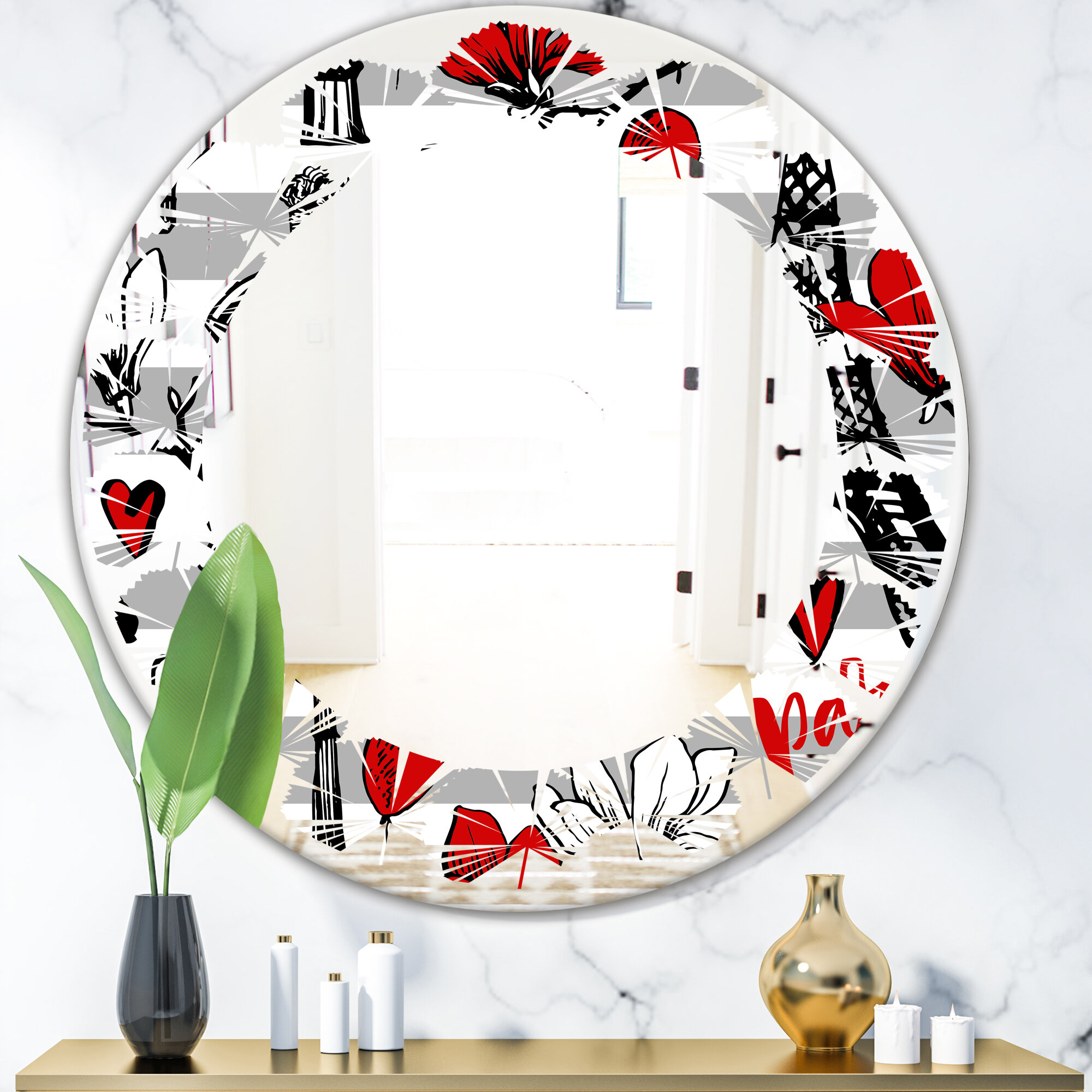 East Urban Home Leaves Paris Eiffel Hearts Ii Eclectic Frameless Wall Mirror
