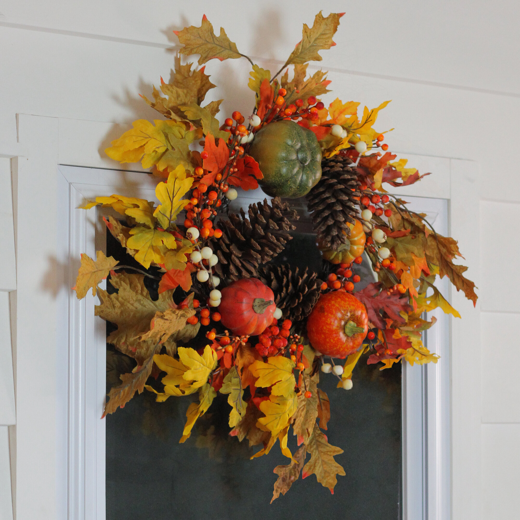 Artificial Plants Flowers 18 Artificial Wreath Autumn Leaves Ynylchmx Fall Wreaths For Front Door Garland For Hanging Window Wall Decorations And Pinecones Modern Farmhouse Wreath Eucalyptus Home Kitchen Startsolar Com Au