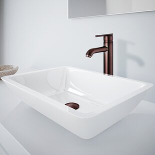 Compare prices Phoenix Stone Rectangular Vessel Bathroom Sink with Faucet By VIGO