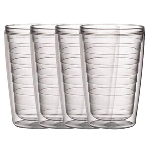 4-Piece 16 oz. Plastic Double Wall Glass Set (Set of 4)