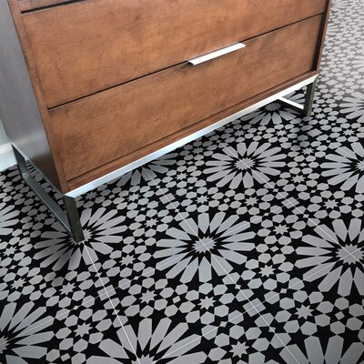 Agdal 8 x 8 Handmade Cement Tile Moroccan Mosaic Color: Gray/Black