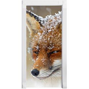 Fox In Snow Door Sticker By East Urban Home