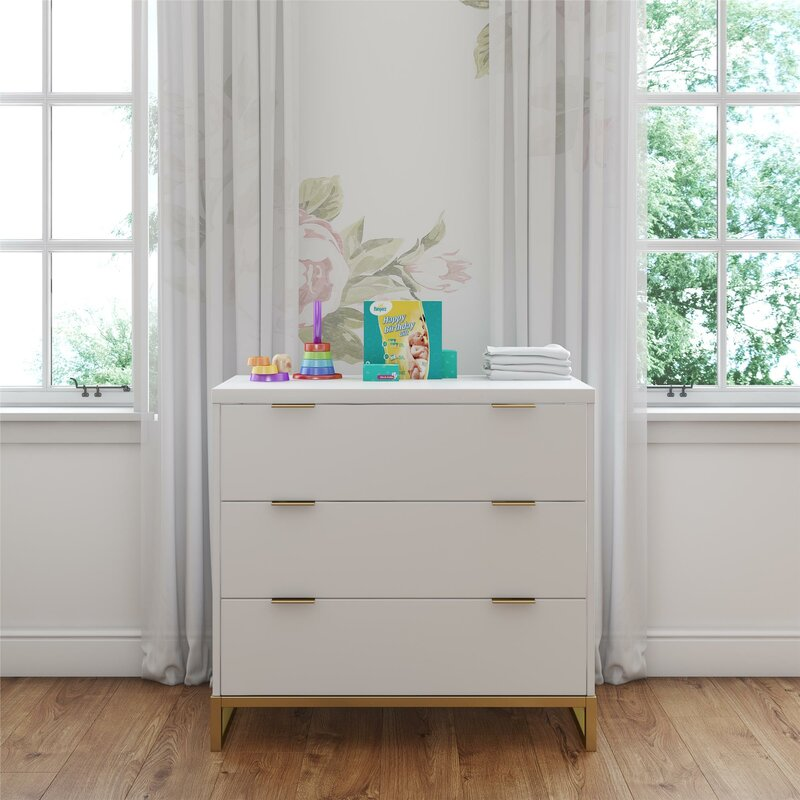 White Rhead 3 Drawer Dresser by Isabelle & Max