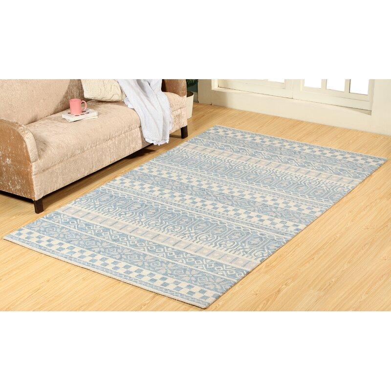 Ophelia Co Galen Hand Woven Wool Blue Area Rug Wayfair