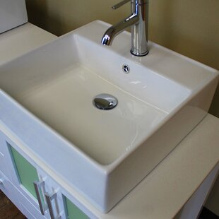 Best Reviews Ceramic Square Vessel Bathroom Sink with Overflow By Cambridge Plumbing